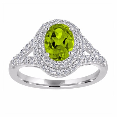 Oval Cut Peridot 925 Sterling Silver Double Halo Birthstone Rings