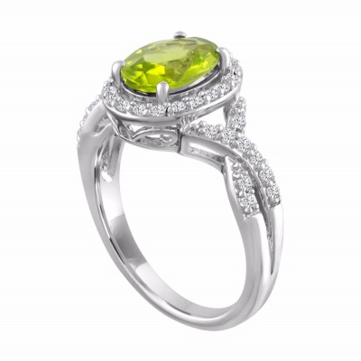 Oval Cut Peridot 925 Sterling Silver Halo Birthstone Rings