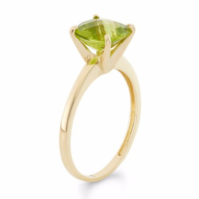 Cushion Cut Peridot 925 Sterling Silver Gold Birthstone Rings