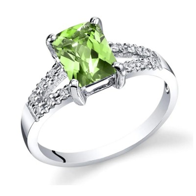 Radiant Cut Peridot 925 Sterling Silver Birthstone Rings