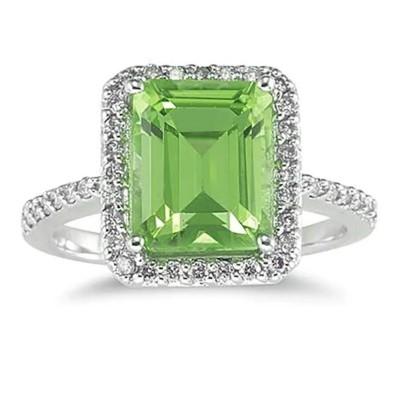 Emerald Cut Peridot 925 Sterling Silver Halo Birthstone Rings