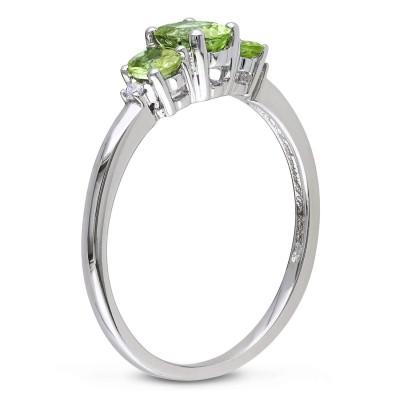 Oval Cut Peridot 925 Sterling Silver 3-Stone Birthstone Rings