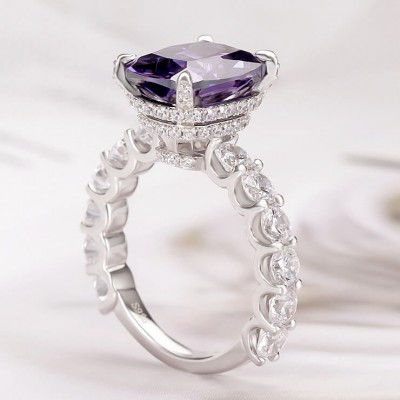 9.5 CT Radiant Cut Amethyst 925 Sterling Silver Engagement Rings