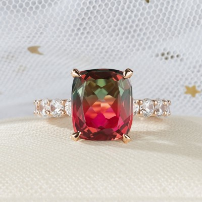9.5CT Radiant Cut 925 Sterling Silver Rose Gold Watermelon Engagement Rings