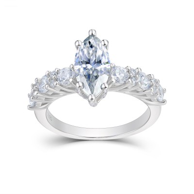 Marquise Cut White Sapphire 925 Sterling Silver Engagement Rings