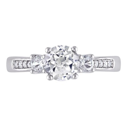 Round Cut White Sapphire 925 Sterling Silver 3-Stone Engagement Rings