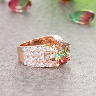 Round Cut Watermelon 925 Sterling Silver Rose Gold Engagement Rings