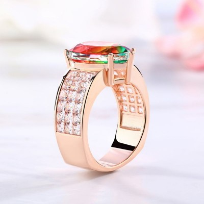 Pear Cut Watermelon 925 Sterling Silver Rose Gold Engagement Rings