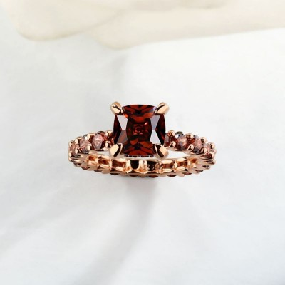 Cushion Cut Chocolate 925 Sterling Silver Rose Gold Engagement Rings