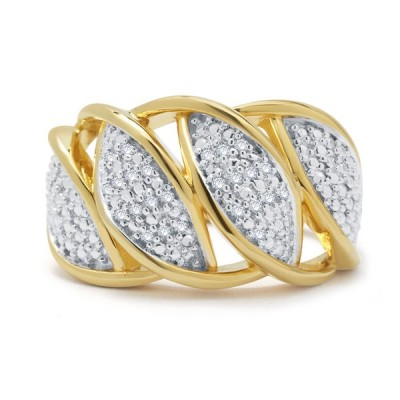Gold 925 Sterling Silver Created White Sapphire 3-piece Jewelry Set
