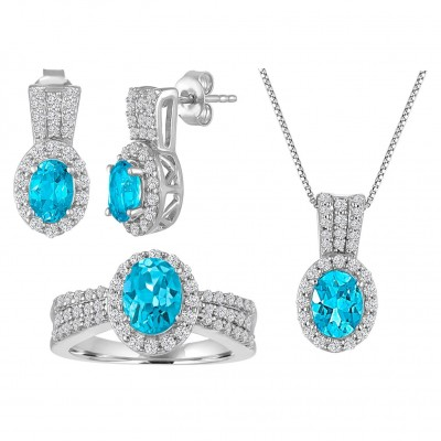 925 Sterling Silver Created Oval Cut Aquamarine 3-piece Jewelry Set