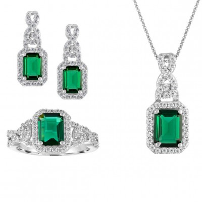 925 Sterling Silver Created Emerald Cut Emerald Stone 3-piece Jewelry Set