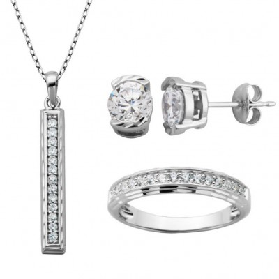 925 Sterling Silver Created Round Cut White Sapphire 3-piece Jewelry Set