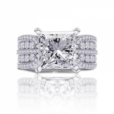 3CT Princess Cut White Sapphire 925 Sterling Silver Engagement Rings