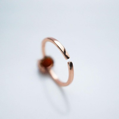 Solitaire Oval Cut 925 Sterling Silver Classic Rose Gold Carnelian Ring