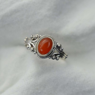 Solitaire Oval Cut 925 Sterling Silver Carnelian Ring