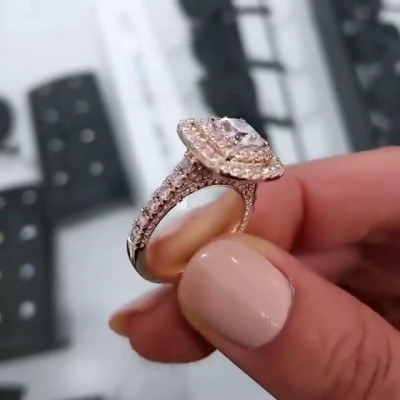 Cushion Cut White Sapphire 925 Sterling Silver Rose Gold Engagement Rings