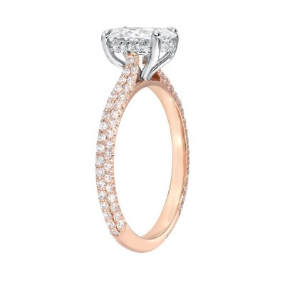 3.36CT Oval Cut White Sapphire 925 Rose Gold Halo Engagement Rings
