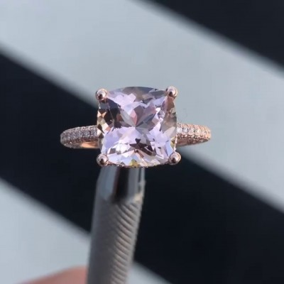 Cushion Cut Pink Sapphire 925 Sterling Silver Rose Gold Engagement Rings