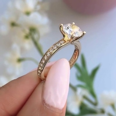 Round Cut White Sapphire 925 Sterling Silver Gold Engagement Rings