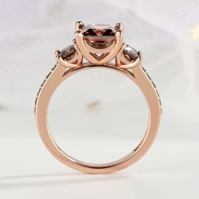 3.1CT Princess Cut Chocolate 925 Sterling Silver Rose Gold 3-Stone Engagement Rings