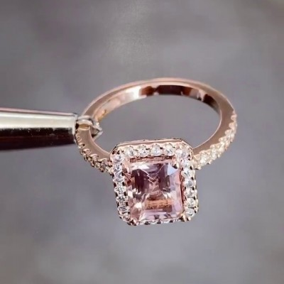 Emerald Cut Pink Sapphire 925 Sterling Silver Rose Gold Halo Engagement Rings