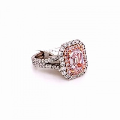 Emerald Cut Pink Sapphire 925 Sterling Silver Halo Engagement Rings