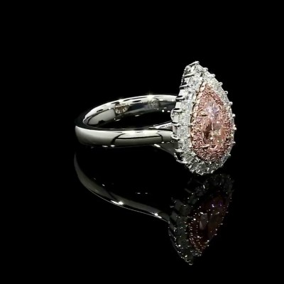 Pear Cut Pink Sapphire 925 Sterling Silver Halo Engagement Rings