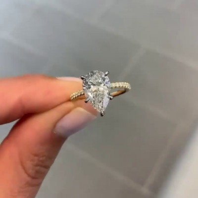 7.8CT Pear Cut White Sapphire 925 Sterling Silver Gold Engagement Rings