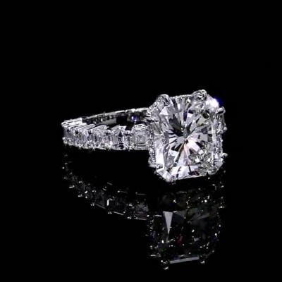 Asscher Cut White Sapphire 925 Sterling Silver Engagement Rings