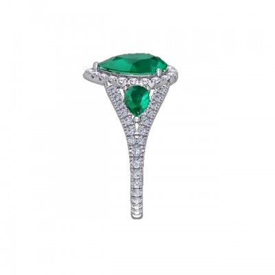 Pear Cut Emerald 925 Sterling Silver 3-Stone Halo Engagement Rings