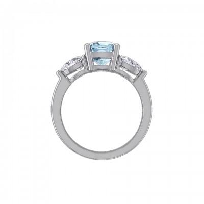 Cushion Cut Aquamarine 925 Sterling Silver 3-Stone Engagement Rings