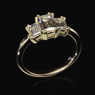 Emerald Cut White Sapphire 925 Sterling Silver Gold 3-Stone Engagement Rings