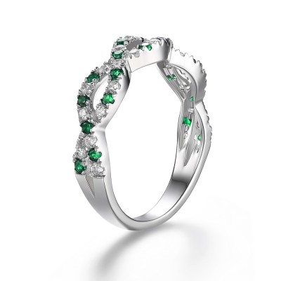 Emerald Green 925 Sterling Silver Women's Engagement Ring