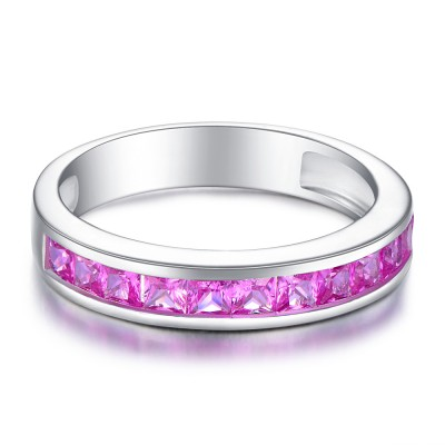Princess Cut Amethyst 925 Sterling Silver Women's Wedding Bands