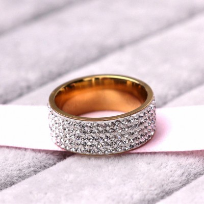 5 Row Lines White Spphire Band Titanium Steel Promise Ring For Her