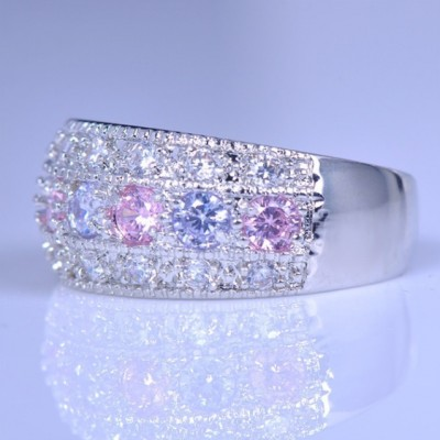 Amethyst & Pink Sapphire Band For Women