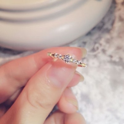 Simple Tiny White Sapphire Promise Rings For Her