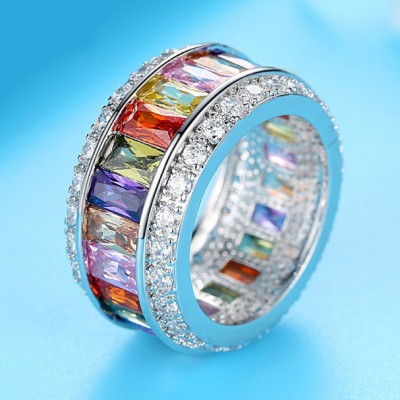 Multicolor Gemstone Delicate Wedding Ring