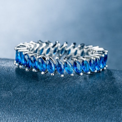 Marquise Cut Blue Sapphire Unique Band For Women