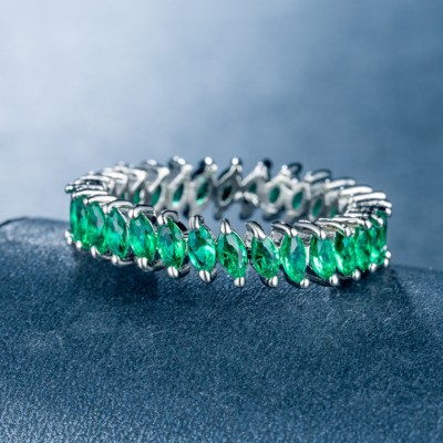 Marquise Cut Green Sapphire Unique Band For Women