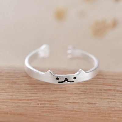 Cute Cat 925 Sterling Silver Promise Rings For Her