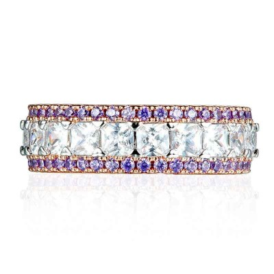 Rose Gold Asscher Cut White Sapphire & Amethyst Sterling Silver Women's Band