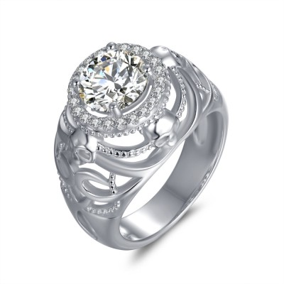 Round Cut White Sapphire 925 Sterling Silver Skull Ring
