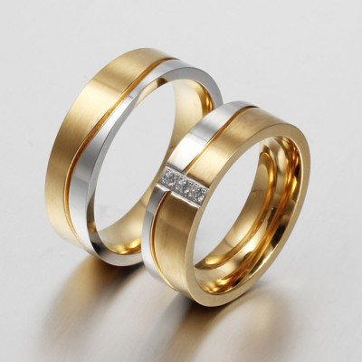 Princess Cut Gemstone Gold and Silver Titanium Steel Promise Ring for Couples