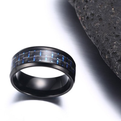 Blue Decoration Black Titanium Steel Men's Ring