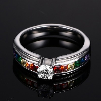 Rainbow Colorful Gemstone Silver Titanium Steel Women's Engagement Ring