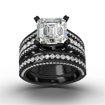 Emerald Cut Gemstone Black 925 Sterling Silver Bridal Sets