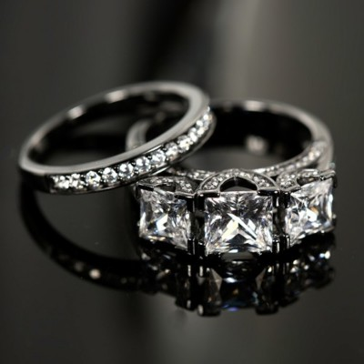Princess Cut Gemstone Black 925 Sterling Silver Bridal Sets