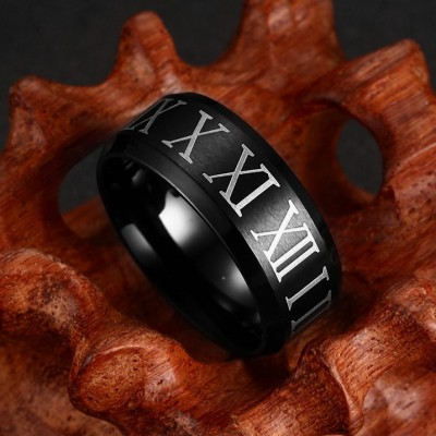 Roman Numerals Black Titanium Steel Men's Ring